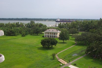 A view of the Chalmette Battlefield, nineteenth century plantation house, and the Mississippi River from the top of the Chalmette Monument, one hundred feet up.