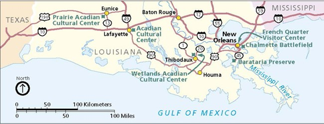 Image of map of south Louisiana showing Jean Lafitte sites