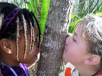Two children press their faces to opposite sides of a tree trunk