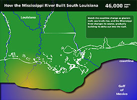 Map of south Louisiana coast 46,000 years ago