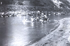 Historic image of people swimming on the John Day River.