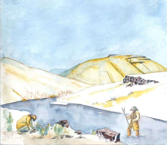 A watercolor illustration of two men at the banks of a river surrounded by hills made of basalt and covered in tan grasses.