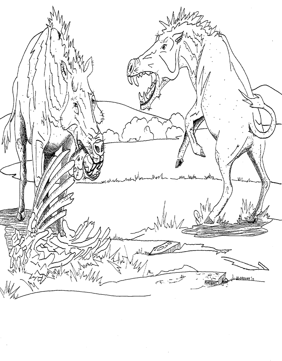 A black and white coloring page that depicts two entelodonts scavenging on the remains of an animal corpse.