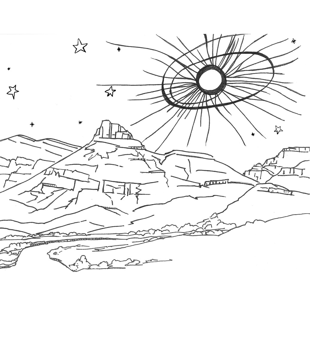 A black and white coloring page of a total solar eclipse at totality above Sheep Rock in the park.