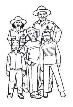 A black and white illustration of two National Park rangers standing with three children.