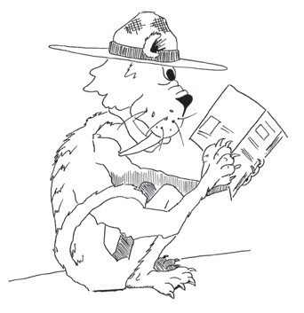 Black and white illustration of the park's saber-toothed unofficial mascot, Pongo, reading a book.