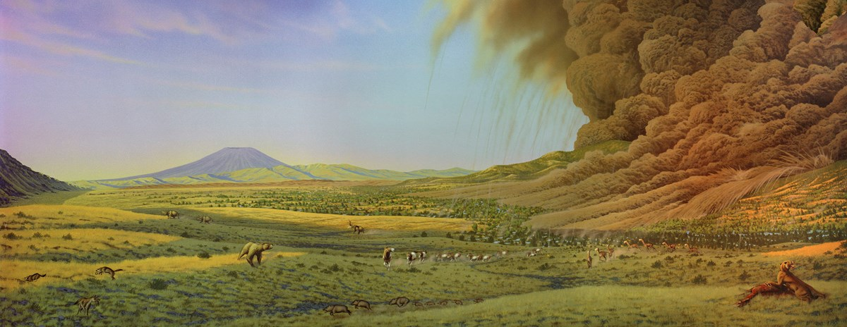 A painting depicting various animals in a green valley reacting to a nearby volcanic eruption.