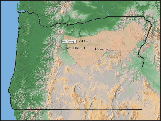 Image Of Oregon Map With Clarno Rocks Highlighted In Color