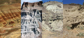 Image of four geologic sections of the John Day strata.