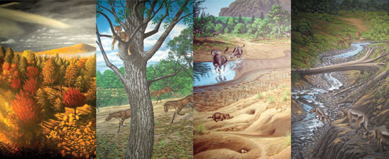 Image of an artist's rendition of the John Day strata landscapes.