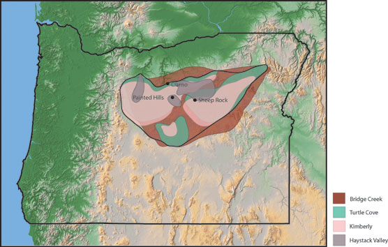 Image of an Oregon Map with the John Day strata in different colors.