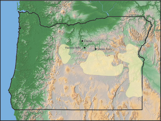 Image of a map of Oregon showing the layers of rock that make up the Mascall Formation.
