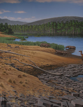Image of an artist's rendition of the Mascall assemblage landscape.