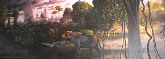 Image of a mural of the Clarno Nutbeds.
