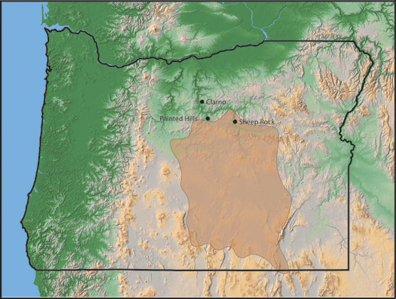 Image of a map of Oregon and the area covered by the Rattlesnake Formation.