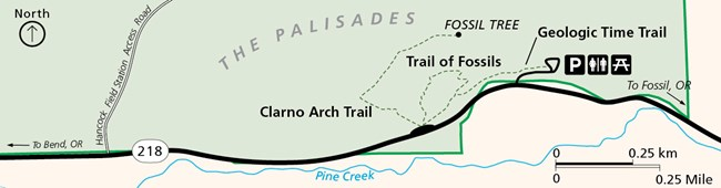 This map zooms in to the area along Highway 218 to show where the Geologic Time Trail, the Trail of Fossil, and the Arch Trail are in relationship to each other and the picnic and parking areas.