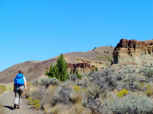 A female hiker with a blue backpack hiking down a trail with a clear blue sky and dusty red/tan outcrops around her.