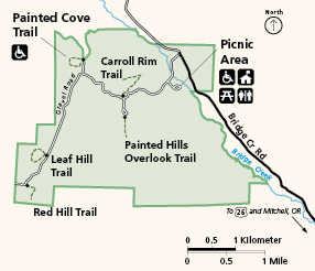Painted Hills map and hiking trails