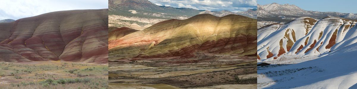 A set of three photographs showing the Painted Hills under different lighting and moisture conditions, all of which affect the appearance of the colors.