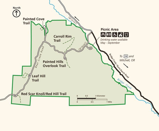 A close-up map of the Painted Hills Unit depicting the road, picnic area, and trail locations.