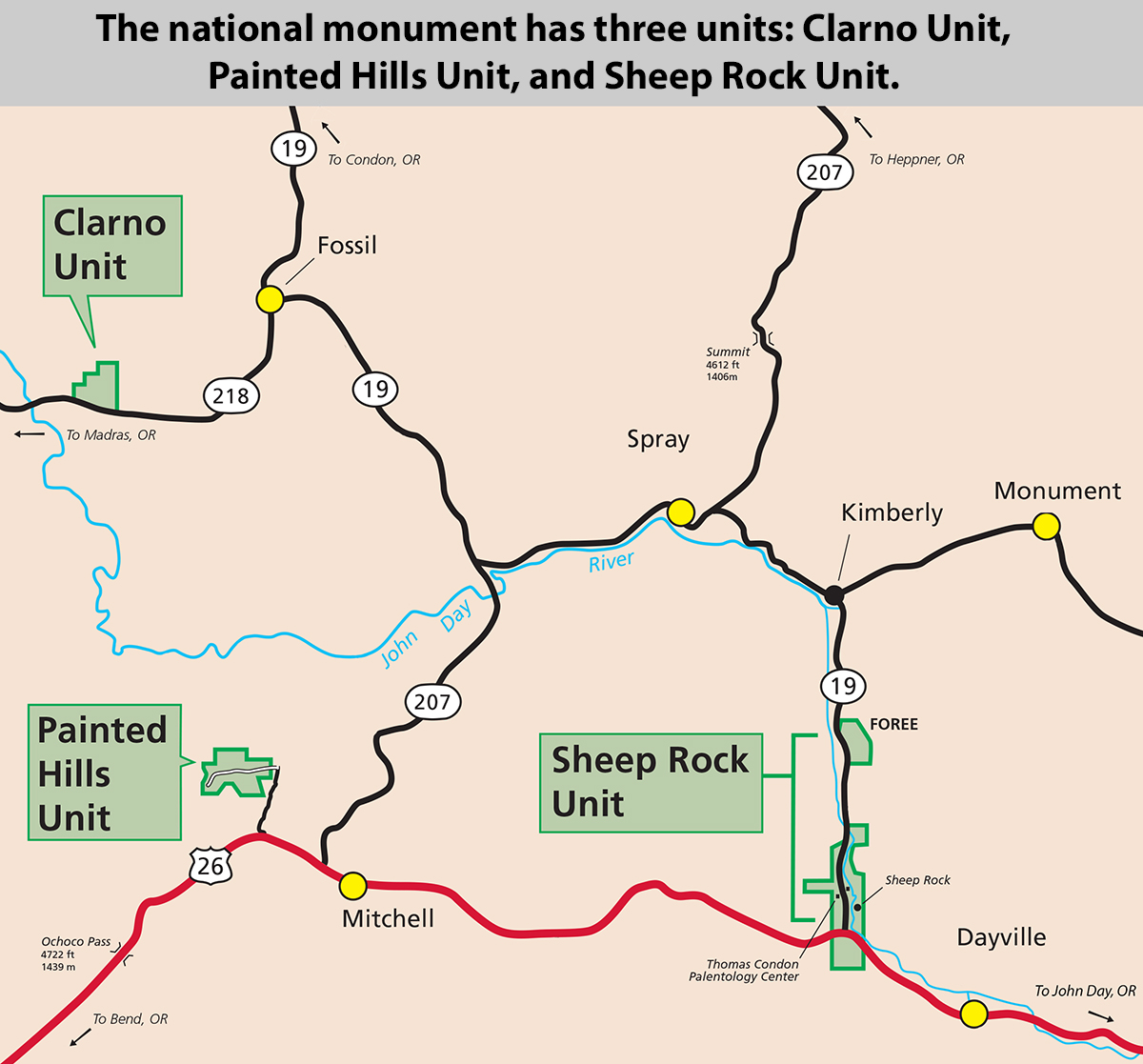 The national monument has three units, the Clarno Unit, the Painted Hills Unit, and the Sheep Rock Unit.