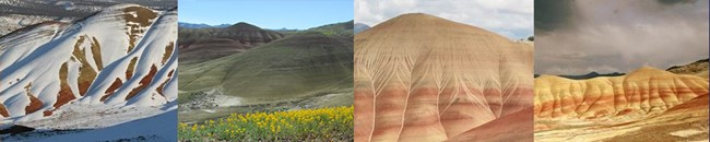 This image displays the Painted Hills during the fours seasons of winter, spring, summer, and fall.