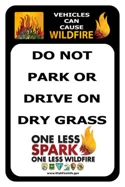 To prevent wildfires, do not drive or park on dry grass.
