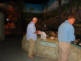 Image of visitors exploring the fossil museum.