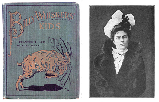 A Billy Whiskers storybook and the author, Frances Trego Montgomery.