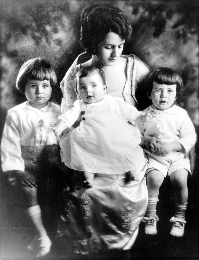 Rose Kennedy with her children (L-R) Joe Jr. Rosemary, and John