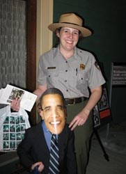 Park Ranger with child dressed up as President Obama