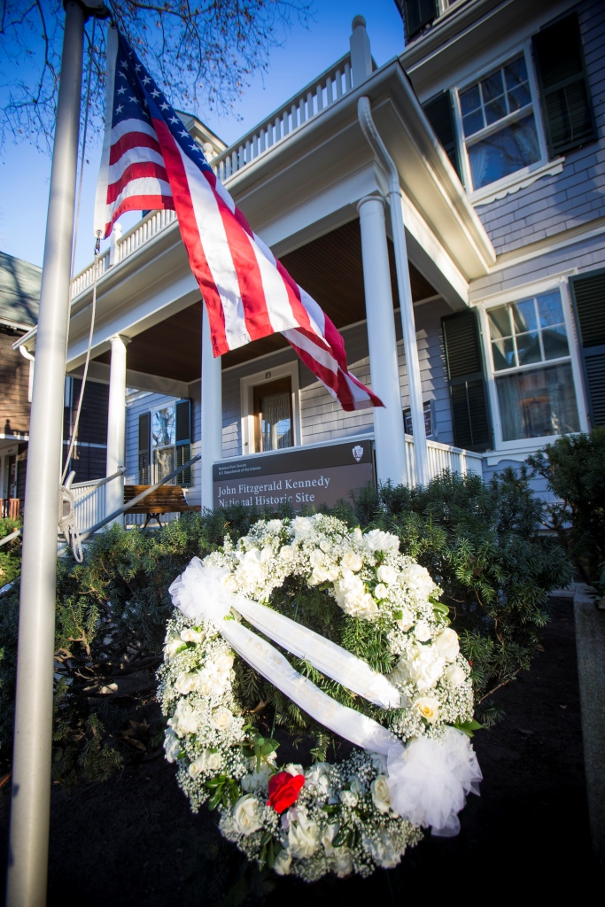 Wreath placed at John F. Kennedy's birthplace to mark the 50th anniversary of his death