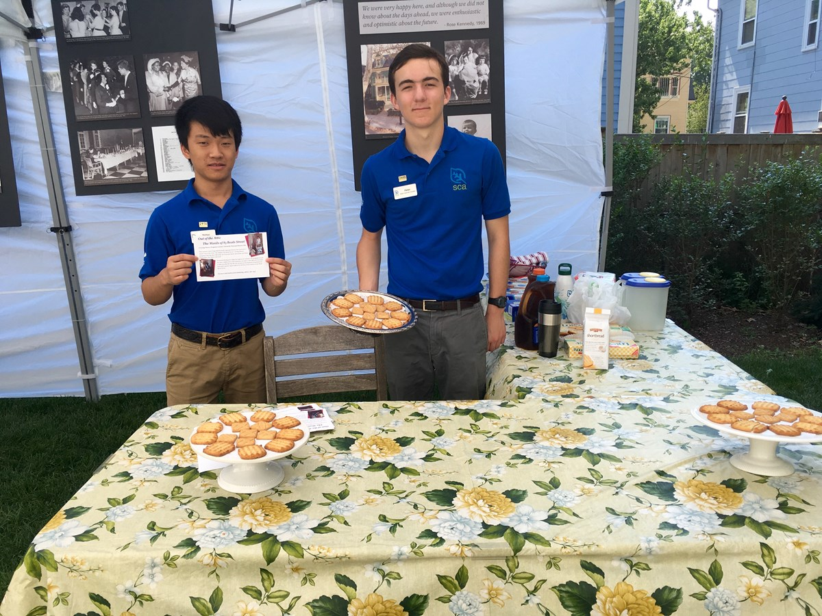 High school interns serve cookies