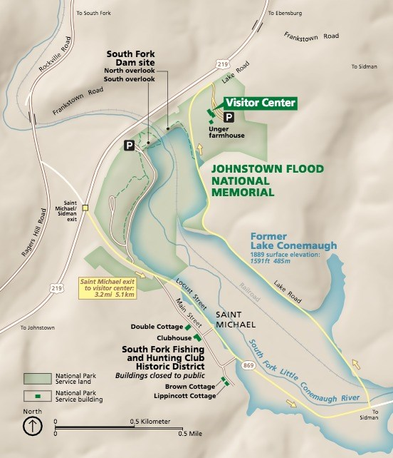 Map of Johnstown Flood National Memorial and St. Michael