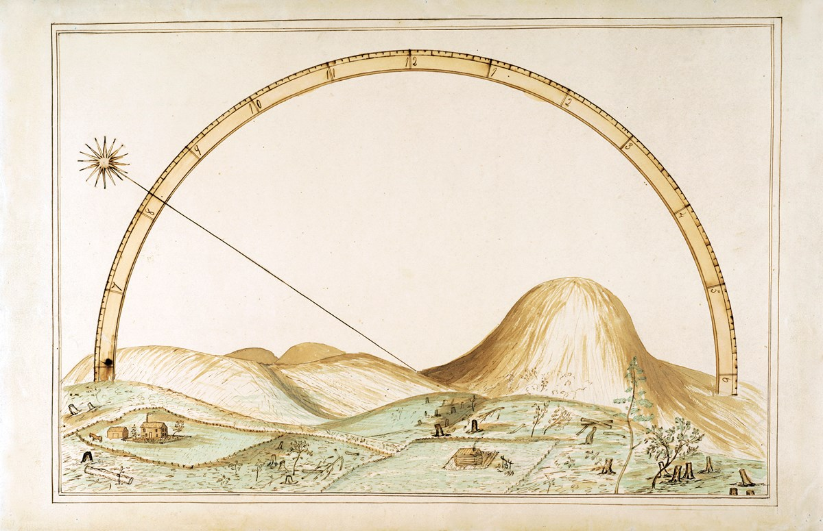 John Muir Invention. Illustration of a mechanical device over some hills.