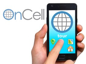 OnCell logo. Shows a hand holding a phone