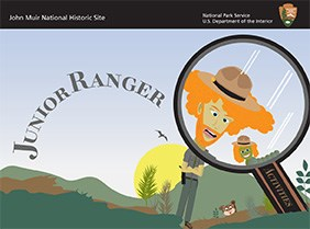 Illustration of a Junior Ranger book. Male ranger looking at caterpillar in a magnifying glass. Cute and silly image.