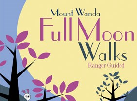 "Illustration. ""Full Moon Walks"" poster with trees and a large moon."