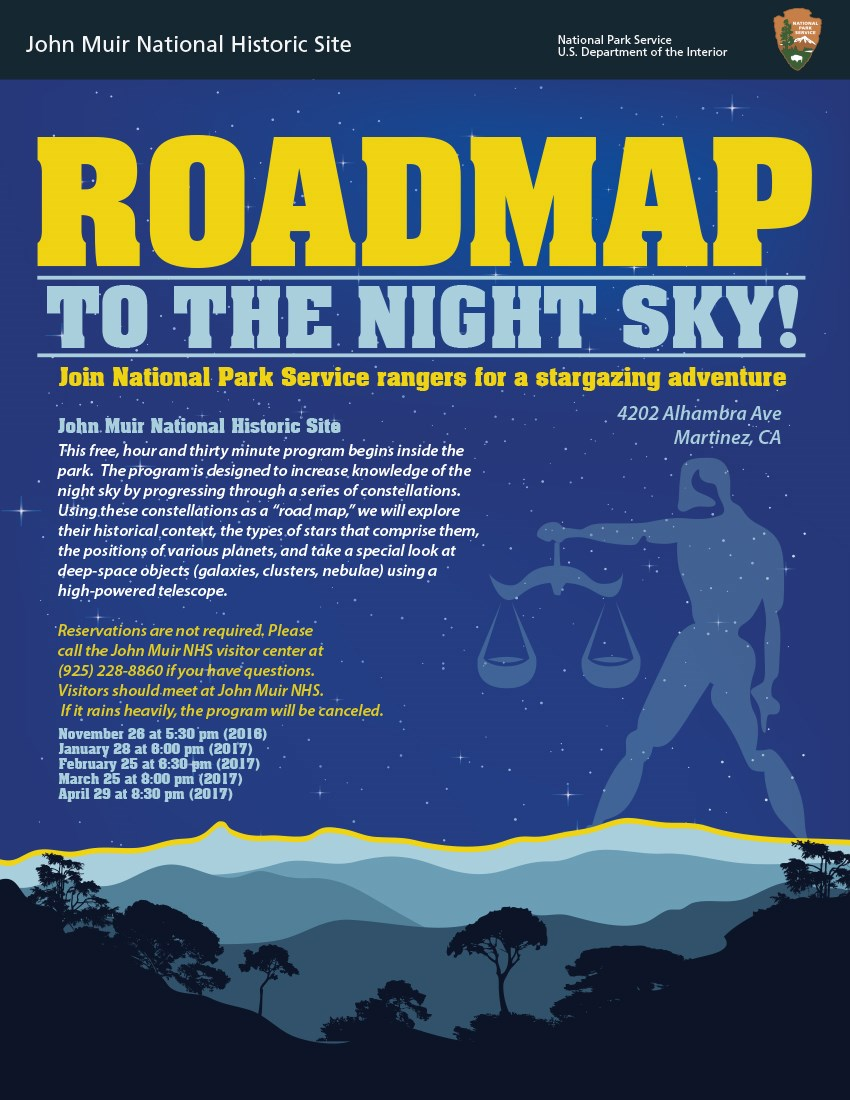 "Flyer for ""Roadmap to the Nigh Sky"". Silhouetted trees against a night sky."