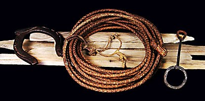 Color photo of lasso, spurs, branding iron, horseshoe, and stakes.