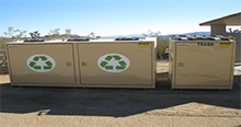 new, ADA-compliant recycling and trash bins