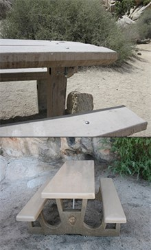 a deteriorated picnic table (top) and a new, ADA-compliant concrete picnic table (bottom)