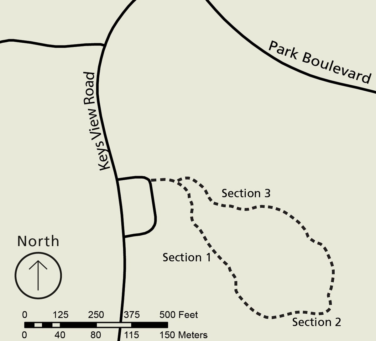 Map of the Cap Rock area. Keys View Road cuts through north-south with a small loop off to the east indicating the parking lot. Off the parking lot there is a dashed-line loop indicating the trail.