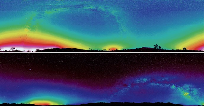 false color panoramas representing light pollution - top, bright color blocks the stars - bottom, image is dark