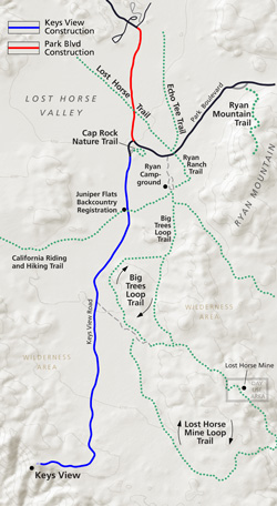map of Keys View Road and Park Boulevard construction areas.