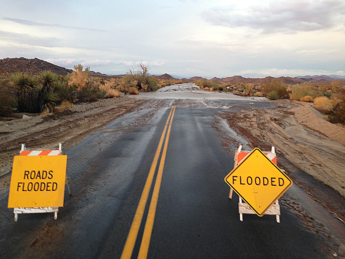 Pinto Basin Road flooded at Smoke Tree Wash on August 25, 2013.