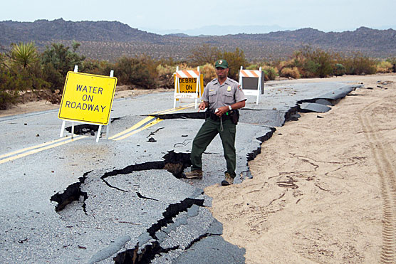Assessing the damage to Pinto Basin Road