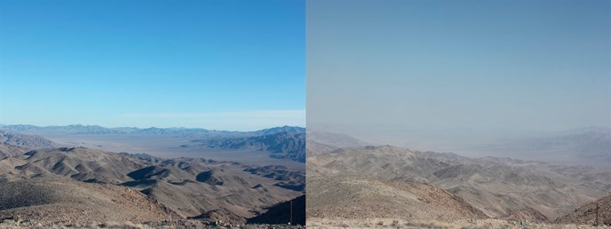 two views of a desert scene, one with distant mountains clearly visible, the other obscured by haze