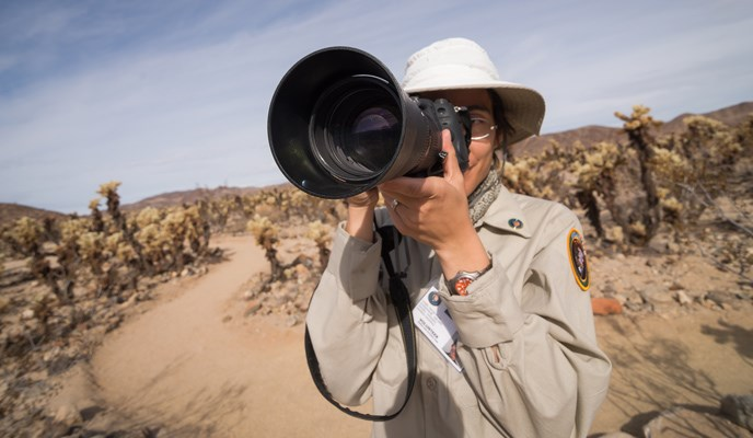 a park volunteer looks through a camera