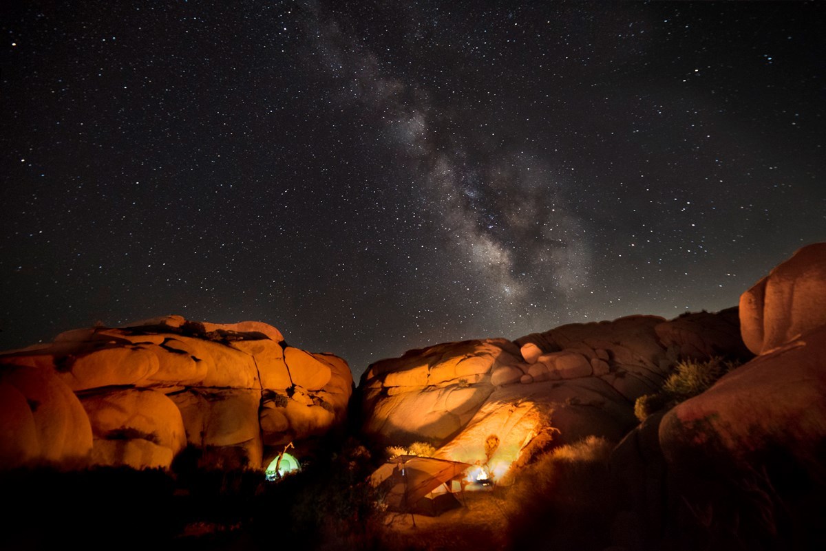 Tent and campsite under the Milky Way